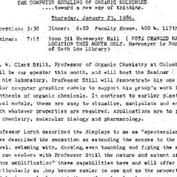 Announcements, 1986-01-23. ...