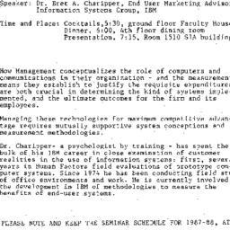 Announcements, 1987-05-21. ...