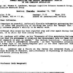 Announcements, 1989-12-14. ...