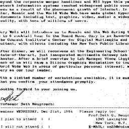 Announcements, 1994-12-21. ...