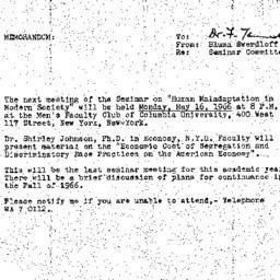 Announcements, 1966-05-10. ...