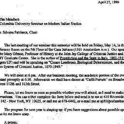 Announcements, 1999-04-27. ...