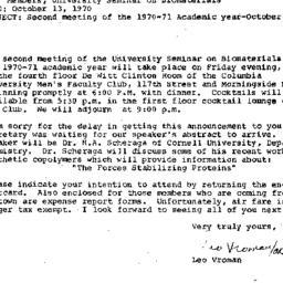 Announcements, 1970-10-13. ...