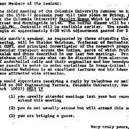 Announcements, 1976-11-08. ...