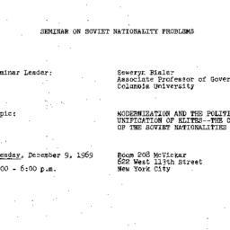 Announcements, 1969-12-09. ...