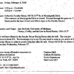 Announcements, 2000-01-20. ...