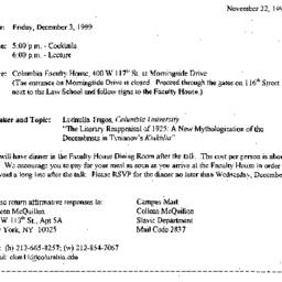 Announcements, 1999-11-22. ...