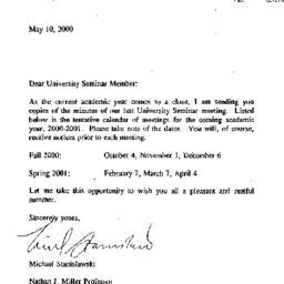 Announcements, 2001-05-10. ...