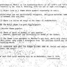 Minutes, 1974-05-01. Death,...