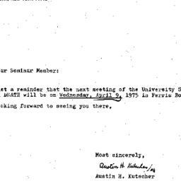Announcements, 1975-04-09. ...