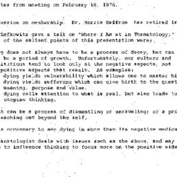 Minutes, 1976-02-18. Death,...