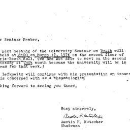 Announcements, 1976-03-17. ...