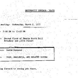 Announcements, 1977-03-09. ...