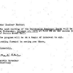 Announcements, 1979-10-10. ...