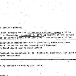 Announcements, 1979-11-07. ...