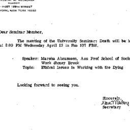 Announcements, 1983-04-13. ...