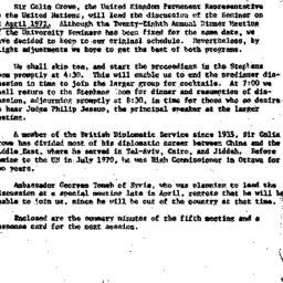 Announcements, 1972-03-21. ...
