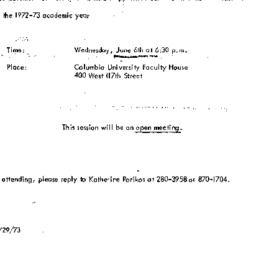 Announcements, 1973-06-06. ...