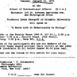Announcements, 1975-01-06. ...
