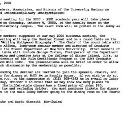 Announcements, 2000-10-01. ...