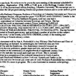 Announcements, 1999-09-14. ...