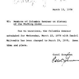 Announcements, 1978-03-15. ...
