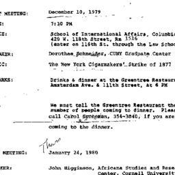 Announcements, 1979-12-10. ...
