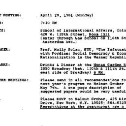 Announcements, 1981-04-20. ...