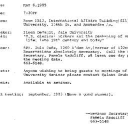 Announcements, 1985-05-06. ...