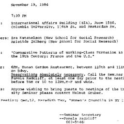 Announcements, 1984-11-19. ...