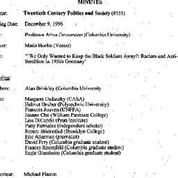 Minutes, 1996-12-09. Twenti...