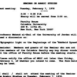 Announcements, 1978-02-07. ...