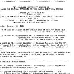 Announcements, 2001-01-18. ...