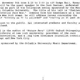 Announcements, 2000-11-08. ...