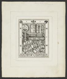 Bookplate Design for Andrew Carnegie's Personal Library in black and white