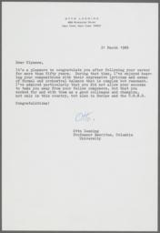 Letter of congratulations from Otto Luening to Ulysses Kay on Kay's retirement
