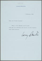 Letter of congratulations from Leonard Bernstein to Ulysses Kay on Kay's retirement