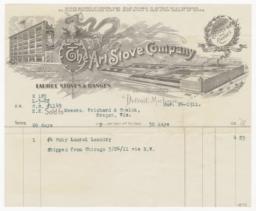 Art Stove Company. Bill - Recto