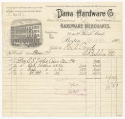 Dana Hardware Co.. Bill - Recto