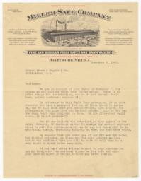 Miller Safe Company. Letter - Recto