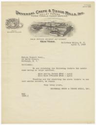 Universal Crepe & Tissue Mills, Inc.. Letter - Recto