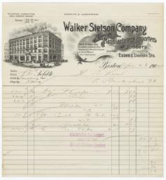 Walker Stetson Company. Bill - Recto