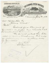 Ottumwa Iron Works. Letter - Recto