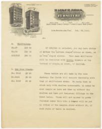 Barker Bros.. Letter - Recto